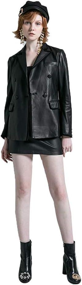 GWDYE Chaqueta de Traje de Cuero para Mujer, Moda Corta y Delgada Delgada, 100% Cuero, Hecha a Mano, con Mangas Cortas, Faldas Cortas, Camisas, etc, Negro