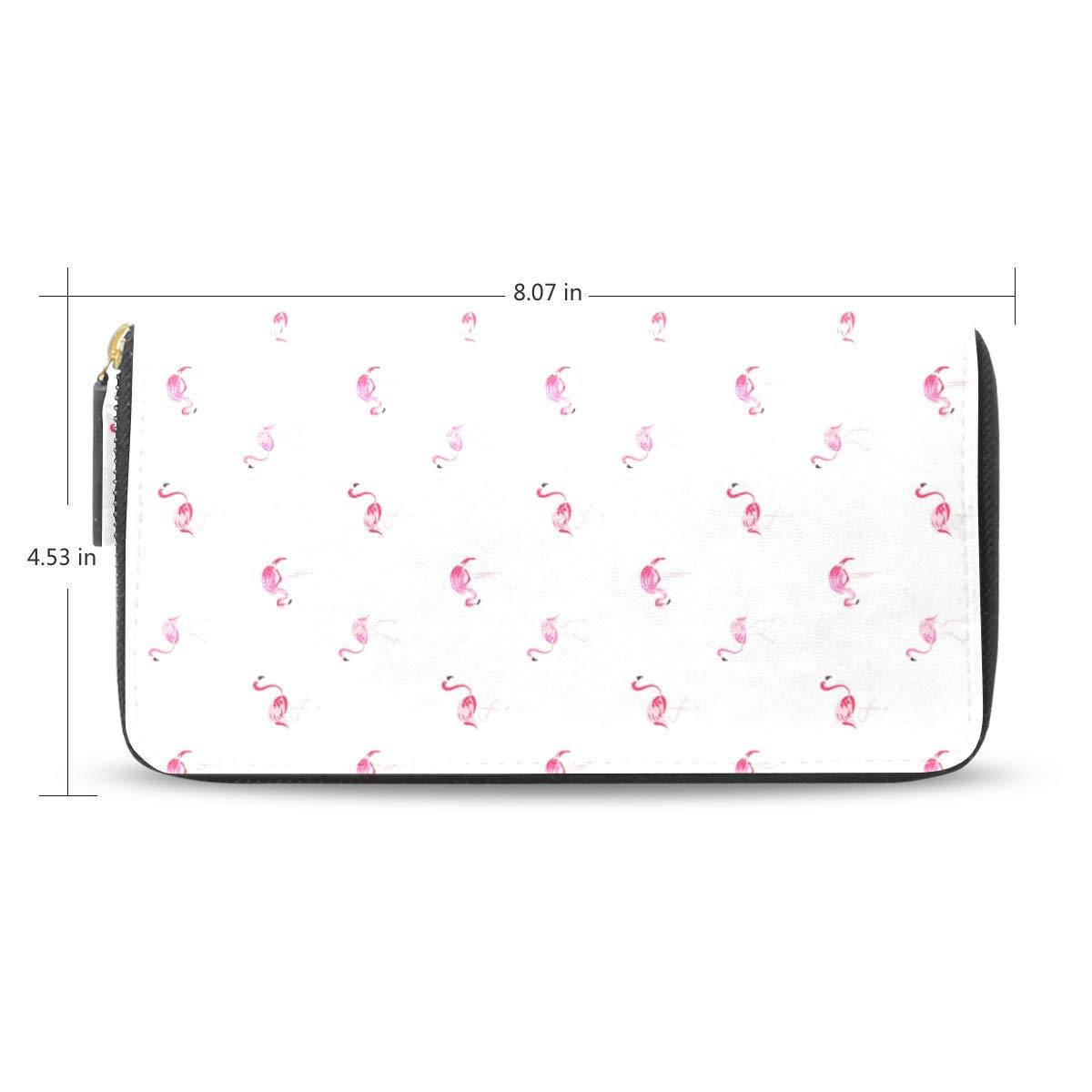 Women LeatherFlamingo Cartoon Pink Wallet Large Capacity Zipper Travel Wristlet Bags Clutch Cellphone Bag