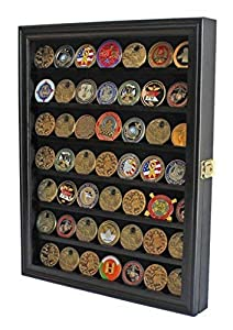 Lockable Military Challenge Coin Casino Poker Chip Display Case Cabinet Rack Shadow Box, COIN56-BL by Display Gifts Inc.