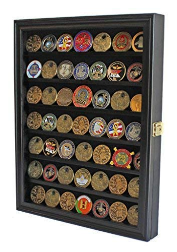 (Lockable Military Challenge Coin Casino Poker Chip Display Case Cabinet Rack Shadow Box, COIN56-BL)