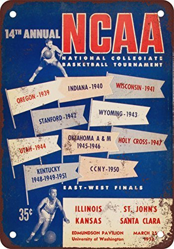 GMNJH 1952 Men39;s College Basketball Tournament Vintage Look Reproduction Metal Tin Sign 8X12 inches