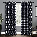 Exclusive Home Curtains Ironwork Sateen Woven Blackout Grommet Top Curtain Panel Pair, 52x108, Peacoat Blue, 2 Piece