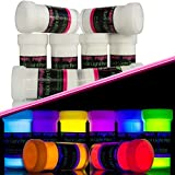 neon nights Invisible Ultraviolet | UV | Black Light | Fluorescent Glow Paint - Set of 8 by neon nights