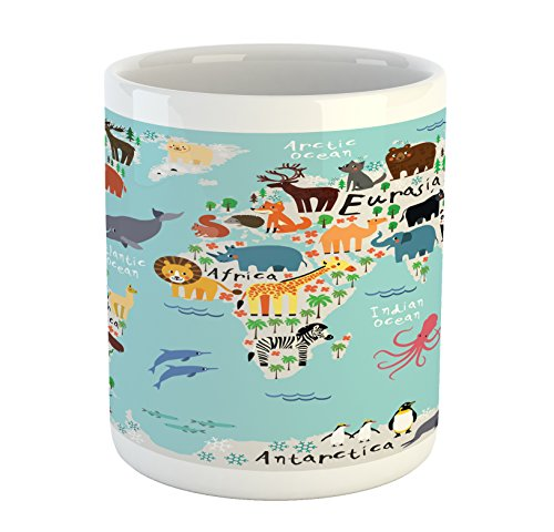 Lunarable Africa Mug, Educational World Map Africa Camel America Lama Alligator Ocean Australia Koala, Printed Ceramic Coffee Mug Water Tea Drinks Cup, Multicolor
