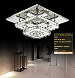 Modern Square 30cm 36W LED Crystal Ceiling lights Chandeliers Bilayer Aisle