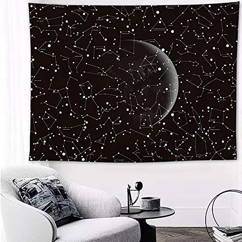 - Tasera Moon Zodiac Tapestry, Antique Black Star Galaxy Moon Constellations Tapestry Wall Blanket Wall Art Sunset Tapestry for Bedroom Living Room Dorm Decor (60 x 80 inches)
