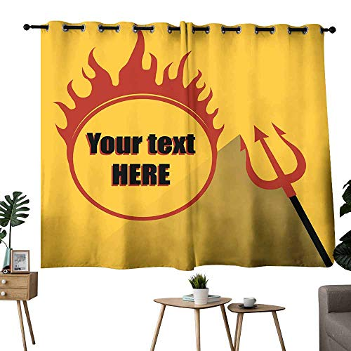 - Mannwarehouse Windshield Curtain Trident with a Hell fire on a Yellow Background 70%-80% Light Shading, 2 Panels,55