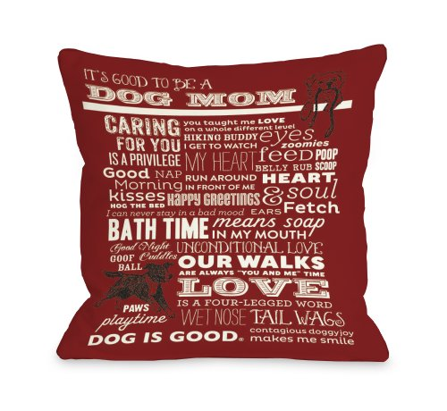 Bentin Pet Decor Proud to Be a Dog Mom Throw Pillow, 18 by 18-Inch, Red