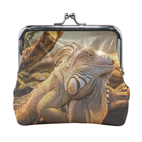 - Rh Studio Coin Purse Lizard Reptile Large Print Wallet Exquisite Clasp Coin Purse Girls Women Clutch Handbag