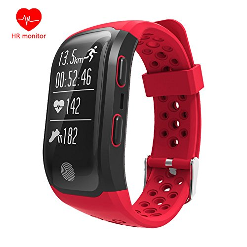 YAMANY GPS Track Record Smart Band Bluetooth Smartband Heart Rate Sleep Monitor Pedometer Sport IP68 Waterproof Smart Watch Fitness Tracker Bracelet for iphone Andriod for women, men (Red)