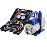 VEVOR Vacuum Pump Kit HVAC Single Stage AC Vacuum Pump 4.8CFM 1/3HP Air Vacuum Pump with 4 Valve A/C Manifold Gauge Set Refrigerant Air Conditioning (4.8CFM1/3HP 4Valve)