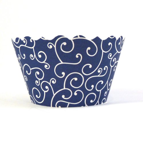 Bella Couture Mini Olivia Swirl Cupcake Wrappers, Navy Blue
