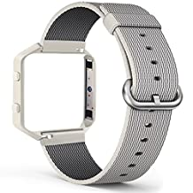 Fitbit Blaze Bands, FanTEK Nylon Weave with Comfortable Fabric-like Feel Watch Band Wrist Strap Accessories For Fitbit Blaze Smart Watch, Frame Included, Off White