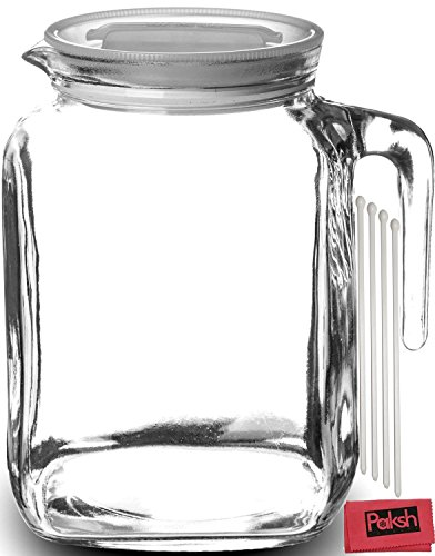 Hermetic Seal Glass Pitcher With Lid and Spout [68 Ounce] Great for Homemade Juice & Iced Tea or for Glass Milk Bottles - Bundled with Stirrers & Cloth