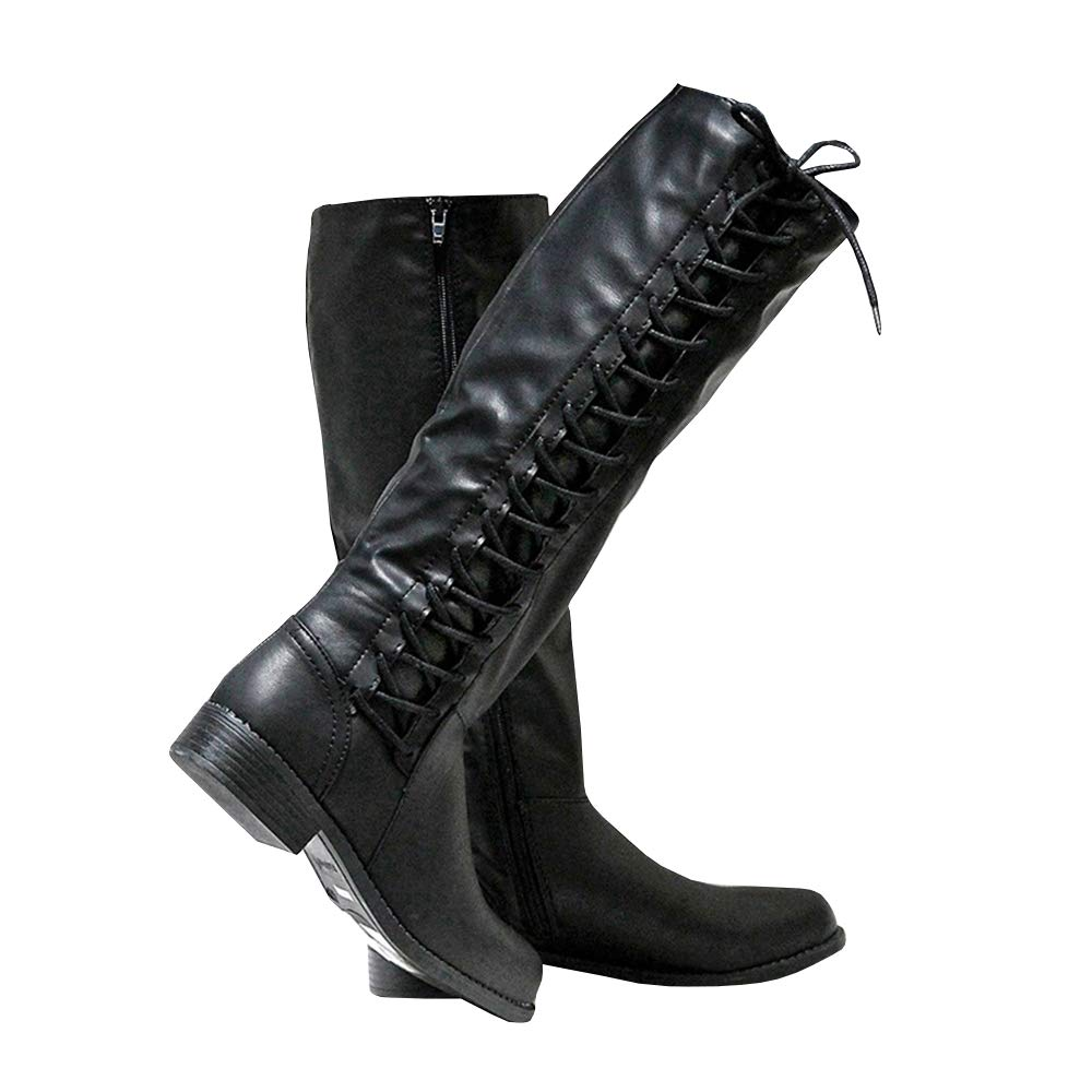 43b660c2cb20 Amazon.com | Syktkmx Womens Winter Lace Up Strappy Knee High Motorcycle  Riding Flat Low Heel Boots | Knee-High