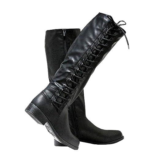 7577f70bfce73 Amazon.com: Womens Riding Boots Lace-up Wide Calf Zipper Low Heel ...