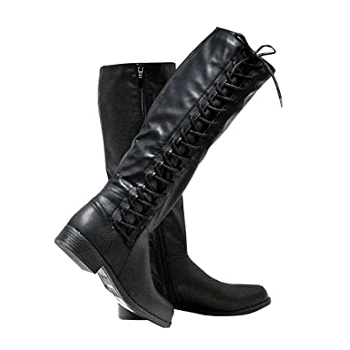 ff08bd6f481 Syktkmx Womens Winter Knee High Boots Lace Up Motorcycle Riding Low Chunky  Heel Zip Boots Black