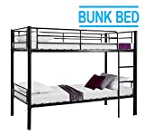 Schindora® 3ft Single Metal Bunk Bed - Twin Sleeper No Mattress (Black)