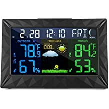 Mesuvida Wireless Weather Forecast Station, Indoor Outdoor Digital Color Weather Monitor with Home Alarm Clock, Temperature Sensor, Digital Time, Calendar, Weather Gadget, Thermometer for Tabletop Use