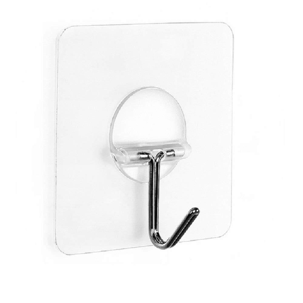 Fealkira 13.2lb/6kg(Max) Wall Utility Adhesive Hooks for Towel Loofah Bathrobe Coats,Bathroom Kitchen Nail Free Transparent Heavy Duty Wall Hook & ...