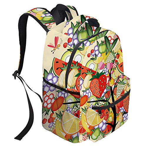 T&H Home Large Backpack, Apple Banana Colorful Fruit Collection Tree Art Prints Casual Daypack Backpacks,Laptop, Padded, Adjustable Backpack Straps, Zip Closure