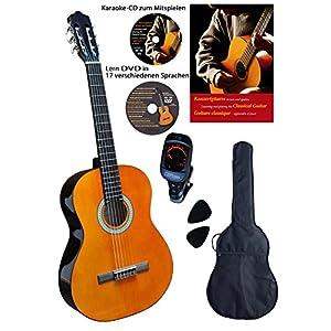 Konzertgitarre 4 4, Clifton, Starter Set, laminierte Fichtendecke, Farbe Palisander mit cremefarbigen Randeinlagen, inkl…