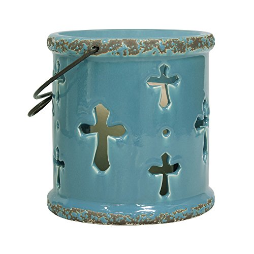 Stonebriar Small Ceramic Blue Hurricane Candle Lantern with Religious Cross Design, For Table Top, Mantle, or Wall Hanging Display, Indoor & Outdoor (Blue Cross Candle)