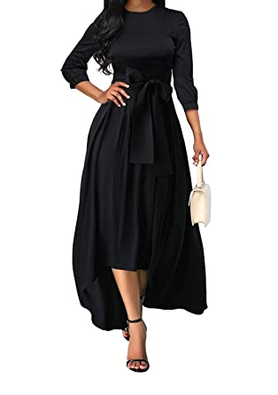 73b426cedc4 Women 3 4 Sleeve Round Neck Solid Color Flowy Belted Asymmetrical Wedding Maxi  Dresses Black
