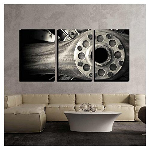 wall26 - 3 Piece Canvas Wall Art - Wooden Aircraft Propeller and Engine Cylinders - Modern Home Decor Stretched and Framed Ready to Hang - 24