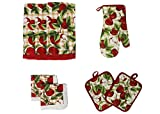 water bath baking pan - Cotton Printed Kitchen Dish Towels, Pot Holder and Oven Mitt, Set of 8 for Cooking, Baking, Housewarming, Host/Hostess, Wedding Registy, Mother's Day Gifts-Red Apples