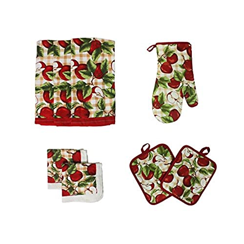 ... Kitchen Dish Towels, Pot Holder And Oven Mitt, Set Of 8 For Cooking,  Baking, Housewarming, Host/Hostess, Wedding Registy, Motheru0027s Day Gifts Red  Apples