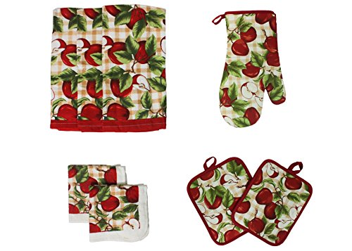 J&M Home Fashions Cotton Printed Kitchen Dish Towels, Pot Holder and Oven Mitt, Set of 8 for Cooking, Baking, Housewarming, Host/Hostess, Wedding Registy, Red (Apple Dish Set)