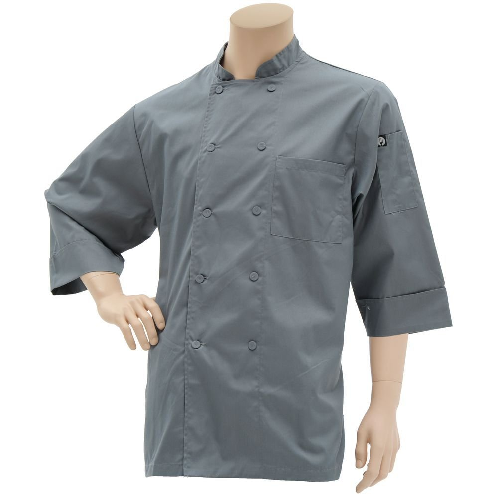 Chef Works Basic Grey Poly Cotton 3/4 Sleeve Chef Coat - Large