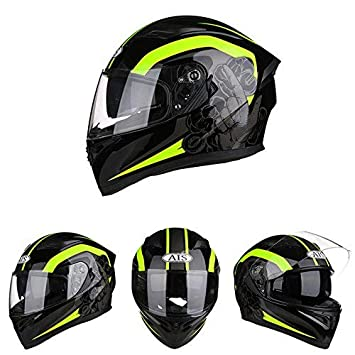 LKJH Casco de Moto Racing Casco Completo Four Seasons Cascos de Coche eléctrico Casco de Montar