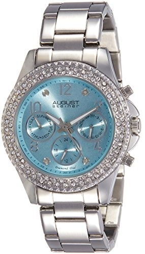 August Steiner Women's AS8136SSLB Silver Multifunction Quartz Watch with Light Blue Dial and Silver Bracelet (Light Dial Silver Womens)
