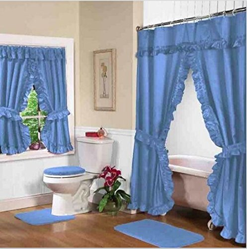 Home Fashions Blue Double Swag Shower and Window Curtain Set with liner