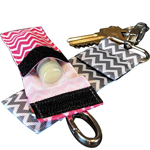 Chapstick KeyChain Holder With Secure Close Lid. 2 Pack Lip Balm Holder. (Metal Gray & Pink) Chapstick Holder