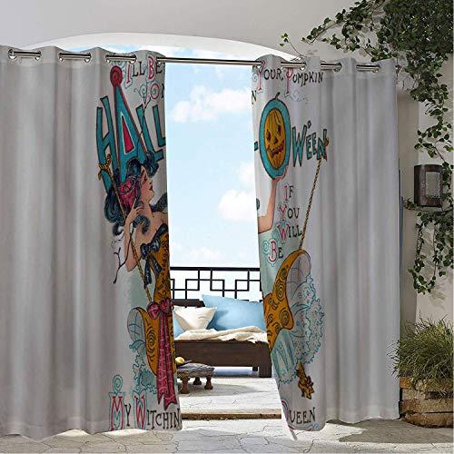 Linhomedecor Gazebo Waterproof Curtains Retro Halloween Card Pumpk Queen Multicolor Porch Grommet Privacy Curtain 72 by 72 -