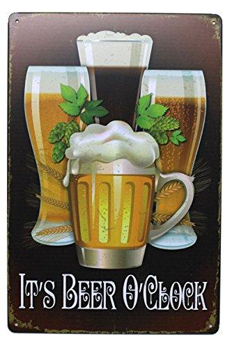 Club Tin Sign (It's Beer O'Clock Retro Metal Tin Sign, Vintage Plaque Bar Pub Home Wall Decor, 8x12 inch)