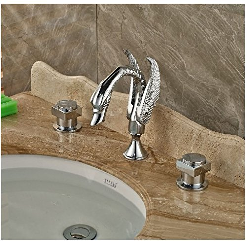 Gowe Deck Mounted Chrome Finish Tub Faucet Bathroom Vessel Sink Tap Hot&Cold Faucet 1