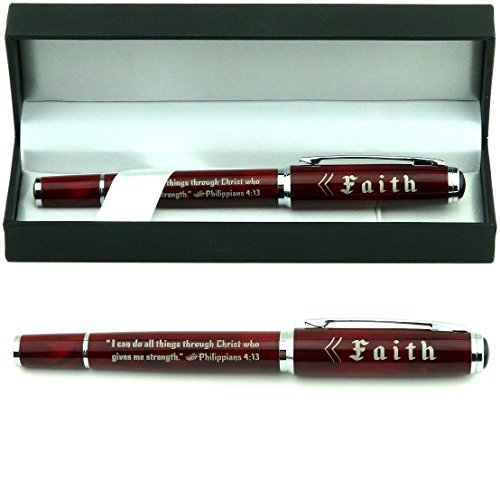 "Philippians 4:13 ""Faith"" Gift Pen w/ Presentation Gift Box - Christian Inspirational Gifts for Men Women Pastors Ministers"