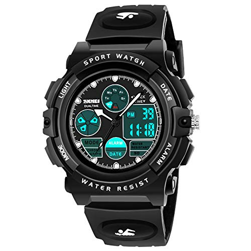 My-My Boy Toys Age 5-12, LED 50M Waterproof Digital Sport Watches for Kids Birthday Presents Gifts for 5-12 Year Old Boys ZHBlack MMUSPW04