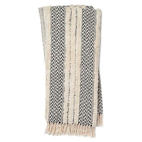 Magnolia Home Joanna Gaines Colleen Cozy Throw Blanket in Black/Ivory (Bedding Gaines Magnolia Joanna)