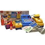 Pretend Play Toy Electronic Cash Register Grocery Shopping Toy With Realistic Actions & Sounds, Money , Groceries And Plastic Coins