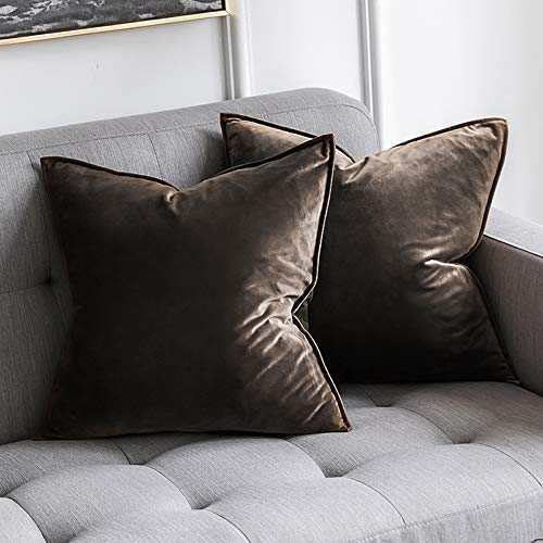 MIULEE Pack of 2 Decorative Velvet Throw Pillow Cover Soft Dark Taupe Pillow Cover Soild Square Cushion Case for Sofa Bedroom Car 18x 18 Inch 45x 45cm ()
