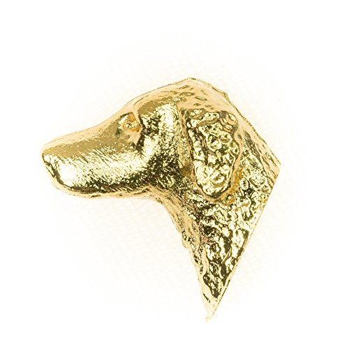 (CURLY COATED RETRIEVER HD Made in U.K Artistic Style Dog Clutch Lapel Pin Collection 22ct Gold Plated)