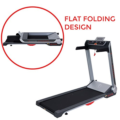 Sunny Health & Fitness Motorized Folding Running Treadmill with Wide Base, Portable, USB, Aux, Flat Folding & Low Profile - Strider, SF-T7718, Black by Sunny Health & Fitness (Image #4)