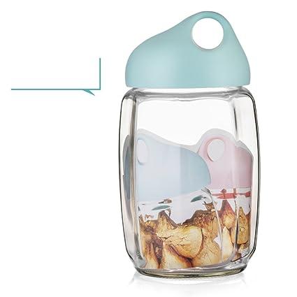 Encantador] Vidrio Hermético A prueba de humedad [jar de almacenamiento] Grande] Botella