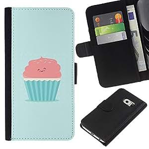 Samsung Galaxy S6 EDGE SM-G925 , la tarjeta de Crédito Slots PU Funda de cuero Monedero caso cubierta de piel (Cute Pink & Blue Cupcake)