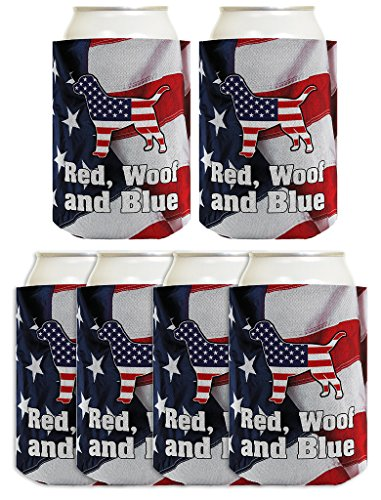 Funny Beer Coolie Red Woof Blue Dog 4th of July Gift for Dog Lovers Patriotic Labrador Lab 6 Pack Can Coolie Drink Coolers Coolies American Flag
